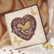 Top quality hot selling double heart pearl wooden wedding card