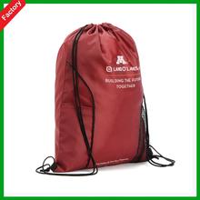 Wholesale Red color promotion High Quality fashion sports nylon mesh shopping bag polyester drawstring shopping bag