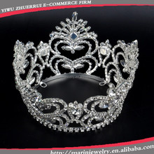 HG006 Yiwu Crown Supplier Factory Directly Elegant Full Round Queen Crown Large Bridal Rhinestone Crown Pageant Tiara Hot Sale