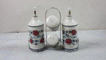 ceramic salt and pepper &oil and vinegar with stand