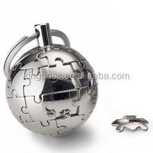 Promotional globe shape metal keychain, stainless steel keychain