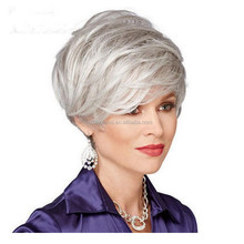2015 cheap fashion women Synthetic grey color wigs short length