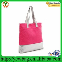 Large shopping bag cotton canvas golf bag shoulder strap with silver handle