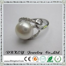 New fashion 925 silver inlaid CZ Ring micro top female elegant mother of pearl ring