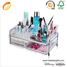 Clear Crystal style 2 drawer with lipstick holder acrylic makeup organizer