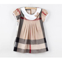 New 2015 girl dress plaid kids clothes fashion girls casual dresses designer children clothing princess summer dress GZ OEM F21