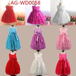 Hot sell popular O neck sleeveless puffy Acrylic lace kids princess flower girl birthday wedding party dress AG-WD0058