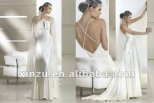 Sexy Open Back Beaded Halter Casual Beach Wedding Dresses 2012