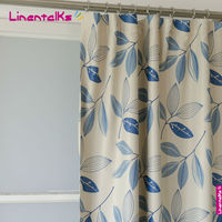Blackout Curtains-Mediterian collection blue leaves printed blackout curtains