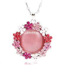 F.Y.L genuine jewelry - silver bottom gradient pink full diamond chain necklace turquoise fine 4-election
