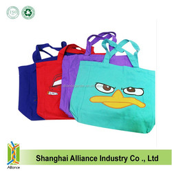 Cute Cartoon Colorful Cotton Canvas Market Shopping Bag