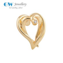 Antique Tibetan Silver Double Heart Charms Pendants 14K Gold Plated Jewelry