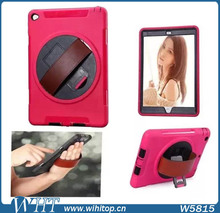 Touchable Screen TPU PC Rotating Stand 3 in 1 Hybrid Rugged Armor Case for iPad 2 3 4 with Hand Strap
