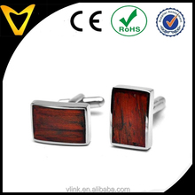 Fashion Mens Accessories 2015 Hot Selling Stainless Steel Cufflinks For Men, Stainless Steel & Red Wood Rectangle Cufflinks