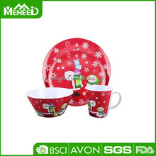 Pomotional X'mas printed items, Christmas party dinnerware sets, round 5pcs christmas bowl and plates