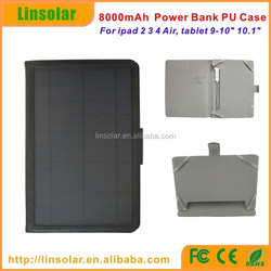 8000mAh Magnetic Slim PU Leather Solar Battery Case Cover Smart Cover Stand Case for table pc