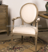 wooden round back louis armrest chair French Louis style solid chair dinning chair
