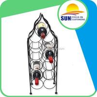 customized shining fashionable metal wine shelf rack