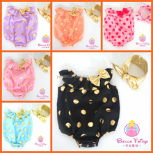Bella Fairy Latest valentine gift boutique girls outfits gold polka dot baby rompers