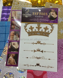 Water transferred Metallic Tattoo Stickers Crown Various Fashion Designs