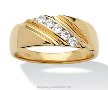 Round white Cubic Zirconia 18k Gold plated 925 Sterling Silver mens wedding ring