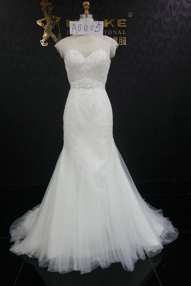A005 pizzo abito da sposa sirena 2015 con cristallo perline pizzo