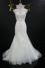 A005 Top lace Mermaid wedding dress 2015 with crystal bead lace