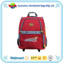2015 Walmart audit quanzhou factory cartoon kids school trolley bag, school backpack