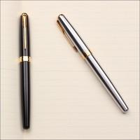 Black &Silver Brand bling metal type free ink roller ball pen