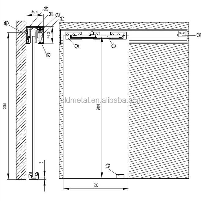 Soft close top hung single aluminum track sliding door for Single sliding glass door