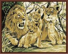 nature landscape coloring by numbers kit handmaded painting lion design animal picture GX6519