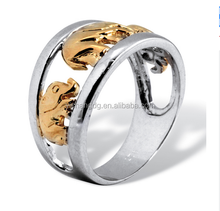 Cheap Two-tone Silver Elephant Ring Tailored Men Ring for Wholesale