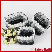 Home decoration hand woven plastic hand basket
