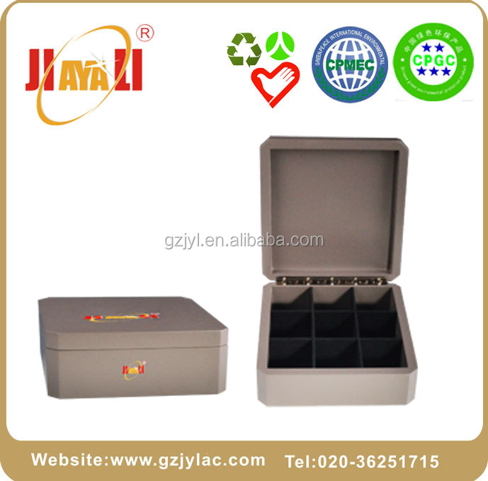 eco-friendly grey matte lacquered wooden tea boxes for tea bag