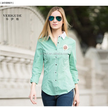 Veri Gude 2015 Fashion ladies slim fit contrast collar plaid longsleeve shirt