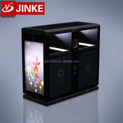 JINKE high quality solar sensor outdoor advertising furniture stainless steel dustbin with led light up picture frame