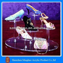Modern clear acrylic tiers display wall shelf for shoes