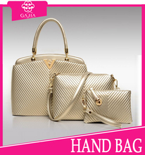 2015 latest fashion V type texture golden weekend bag 3pcs set bag leather purse and handbag, italian women handbag from China