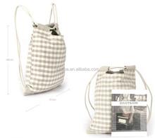 hot selling linen drawstring bag with zipper pocket