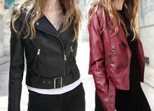 C88225A EUROPEAN WOMEN FASHION PU JACKET LEATHER COATS