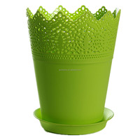 18.5x14.5cm Flower Planter With Tray Crown Lace Plastic Plant Pot Resin Flowerpot Modern Style