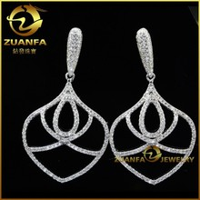wholesale micro pave setting solid silver big earrings