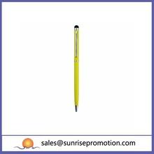 Slim Luminous Yellow Touch Pen Metal Ball