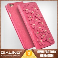 QIALINO Super Thin Best High Quality Leather Phone Case For Iphone6 Custom Fit