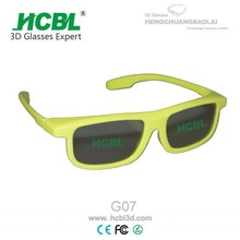 Yellow Stylish Active Circular Polarized 3D Glasses / Eyewear With ABS Frame