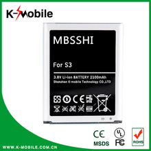 Long lasting mobile phone battery EB-L1G6LLU 3.7V i9300 battery for Samsung Galaxy S3 battery with CE RoHs Certificate