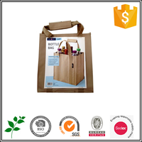 Jute bottle wine tote bag with compartment