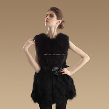 new fashion girl's rabbit raccoon dog fur vest with waistband and raccoon fur gilet for women
