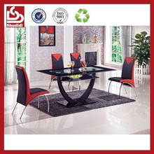 T603 Industrial Modern Glass Top Metal Base dining table