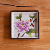 Flower & Birds Design Hand Painted Porcelain Soap Dish For Shower